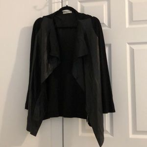 Zara knit cardigan with vegan leather